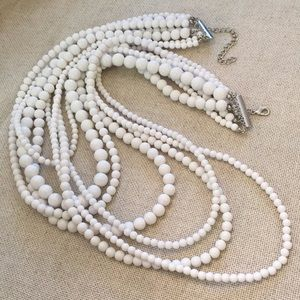 Vintage 1980's 7 Strand White Bead Necklace